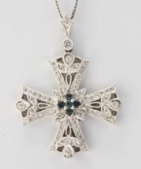 K18WGアレキサンドライトダイヤモンドペンダントネックレス